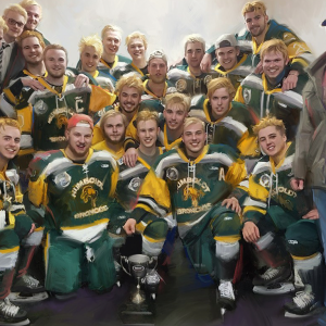 "HUMBOLDT BRONCOS LIMITED EDITION ON CANVAS WRAP (16"" X 20"")"