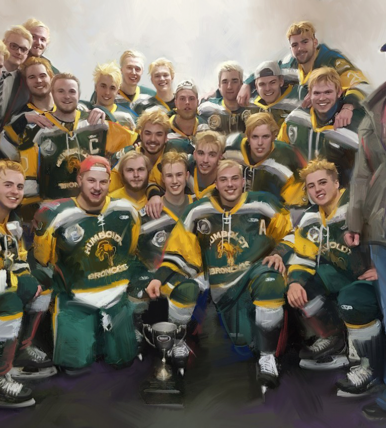 NEWPORT BRUSHSTROKES RAISING FUNDS FOR HUMBOLDT BRONCOS