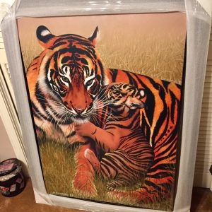 Motherhood-Tigers, Original Mix Media By Mikhail Chapiro 30x40