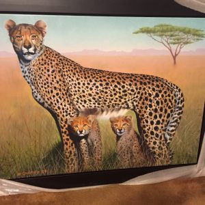 Motherhood-Cheetas, Original Mix Media By Mikhail Chapiro 30x40