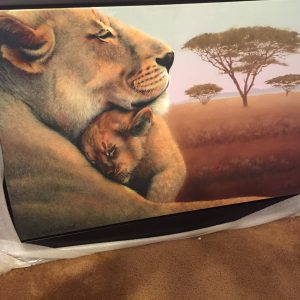 Motherhood-Lions, Original Mix Media By Mikhail Chapiro 30x40
