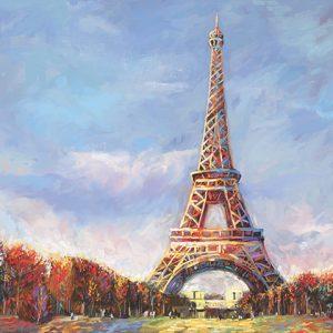 Eiffel Tower Ver XXXII, Oil on Canvas By Redina Tili 20 X 24