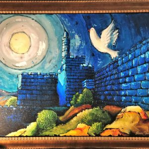 "Dove of Peace , Original Mix Media Canvas By Haim Sherrf 36"" x 48"""