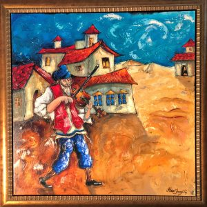 "Village Fiddler, Original Mix Media Canvas By Haim Sherrf 36"" x 36"""