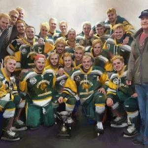 Original Hand Painted Humboldt Broncos Team Oil Painting 24x30 Charity Auction
