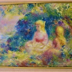 """Blonde Girls Impressions 1st by Harry Myers - Oil/Canvas 16""""x14"""" Original 1968"""