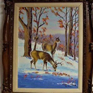 "Deer In Snow by Viola Smith - Oil/Canvas 16.5""x22"" Original 1979"