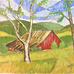 "Red Barn by Viola Smith - Oil/Canvas 24""x18"" Original 1965"