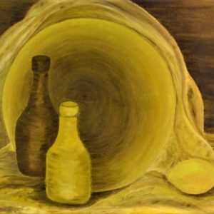 "Brown With Bold Yellow by Viola Smith - Oil/Canvas 24""x18"""