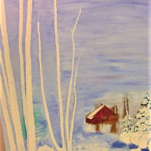 "Red House in Winter by Viola Smith - Oil/Canvas 18""x24"" Original 1971"