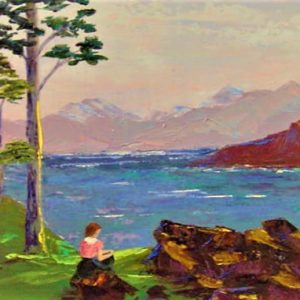 "Relaxing by the River  by Viola Smith - Oil/Canvas 20""x16"" Original 1972"
