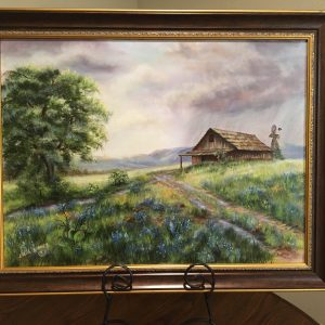 "Barn in the Rain by Linda Kinney - Oil 18""x24"" Original 1982"