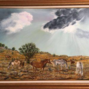 "Horses on the Prairie by Linda Kinney - Oil 30""x40"" Original 2009"