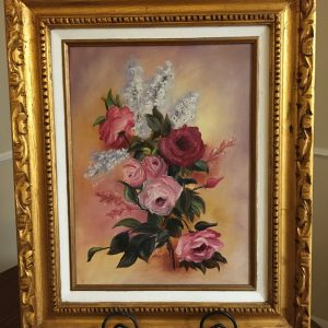 """Inspired by the Rose by Linda Kinney - Oil 16""""x12"""" Original 1990"""