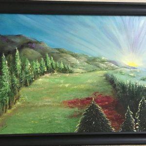 "Sunrise Over the Smokys by Linda Kinney - Oil 24""x36"" Original 2009"
