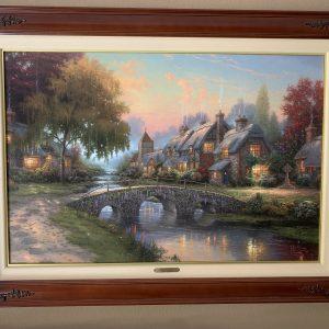 "Cobblestone Bridge by Thomas Kinkade - Canvas 18""x27"" Original 2000"