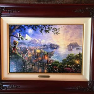 "Pinocchio wishes Upon A Star by Thomas Kinkade -Canvas 12""x 18"""