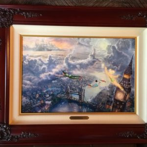"""Tink and Peter Pan Fly to Neverland by Thomas Kinkade - Canvas 12""""x 18"""""""